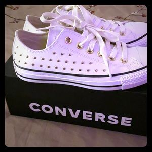 White Leather and Gold Studded Converse